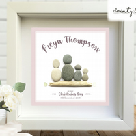 BOY or GIRL BABY CHRISTENING Pebble Picture: Personalised Gift with Sea Glass
