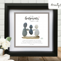 GODPARENTS GODMOTHER GODFATHER Pebble Picture: Personalised Gift