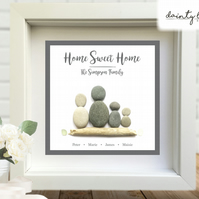 HAPPINESS DOG KISSES Pebble Picture: Personalised Gift with Sea Glass - LOVE