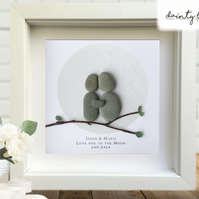 LOVE YOU TO THE MOON AND BACK Pebble Picture: Personalised Gift with Sea Glass