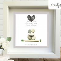 MUM or DAD MY ROCK Pebble Picture: Personalised Gift with Sea Glass. Love Parent