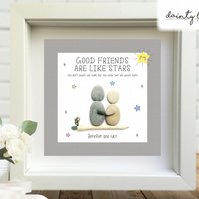 GOOD FRIENDS LIKE STARS Pebble Picture: Personalised Gift with Sea Glass
