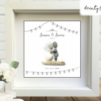 WEDDING SHABBY CHIC Pebble Picture: Personalised Gift with Sea Glass