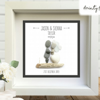 WEDDING SIMPLE BOHO Pebble Picture: Personalised Gift with Sea Glass