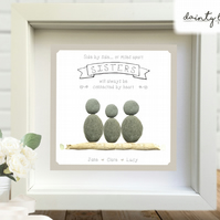 SISTERS CONNECTED HEART Pebble Picture: Personalised Gift with Sea Glass