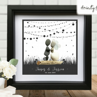 WEDDING STRING LIGHTS Pebble Picture: Personalised Gift with Sea Glass