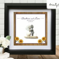WEDDING WOODEN SUNFLOWER Pebble Picture: Personalised Gift with Sea Glass