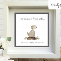 DOG WET KISSES TAILS LOVE Pebble Picture: Personalised Gift with Sea Glass