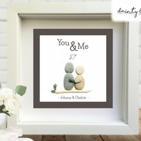 YOU & ME Pebble Picture: Personalised Gift with Sea Glass. Love COUPLE