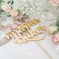 Gilded Gold Cake Topper - Custom Name Personalised Metallic Mirror