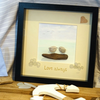 "Beach art framed picture of two birds on boat, caption ""Love always""  Valentine,"