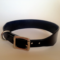 Whippet Type Dog Collar-Black-English Leather-Hand Made-Hand Stitched 53-51-50cm