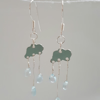 Silver Rain cloud earrings