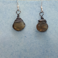 Silver wrapped smoky quartz earrings