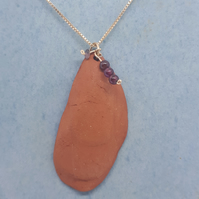 Terracotta muscle shell with garnet and tourmaline on gold filled chain