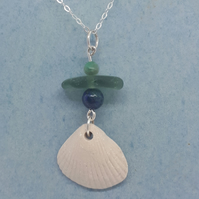 Ceramic cockle shell necklace with green seaglass, apatite and azurite beads