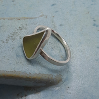 Sea glass and silver ring