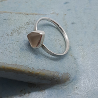 Beige grey seaglass ring