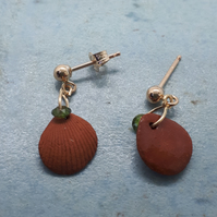 Gold filled and terracotta shell studs 3