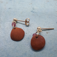 Gold filled and terracotta shell studs 6