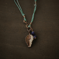 Copper Leaf and Amethyst Charm Necklace