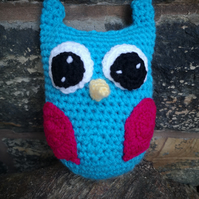 Blue Crocheted Owl