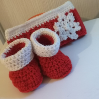 Red and white Crochet headband and booties age 0-3 months