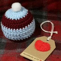 Claret and Blue crochet terry's chocolate orange cover