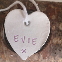 Small white clay Evie name tag