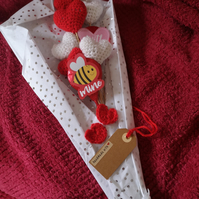 Valentines Crochet be mine bouquet crochet hearts