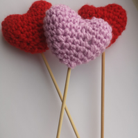 3 Crochet padded hearts on sticks