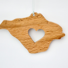Hanging Isle of Wight shape with cut out heart