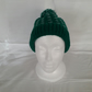 Hand knitted Chunky Hat Emerald Green & Light Green