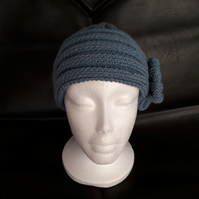 Hand Knitted Ladies Hat with Bow Blue