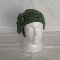 Hand Knitted Ladies Hat with Bow Green