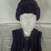 Hand knitted Chunky Hat and Mittens Set Purple & Coloured Flecks