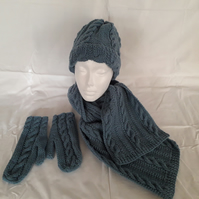 Hand knitted Hat, Scarf and Mittens Set