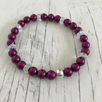 Raspberry glass pearl beads and crystal beads and silver plated bracelet