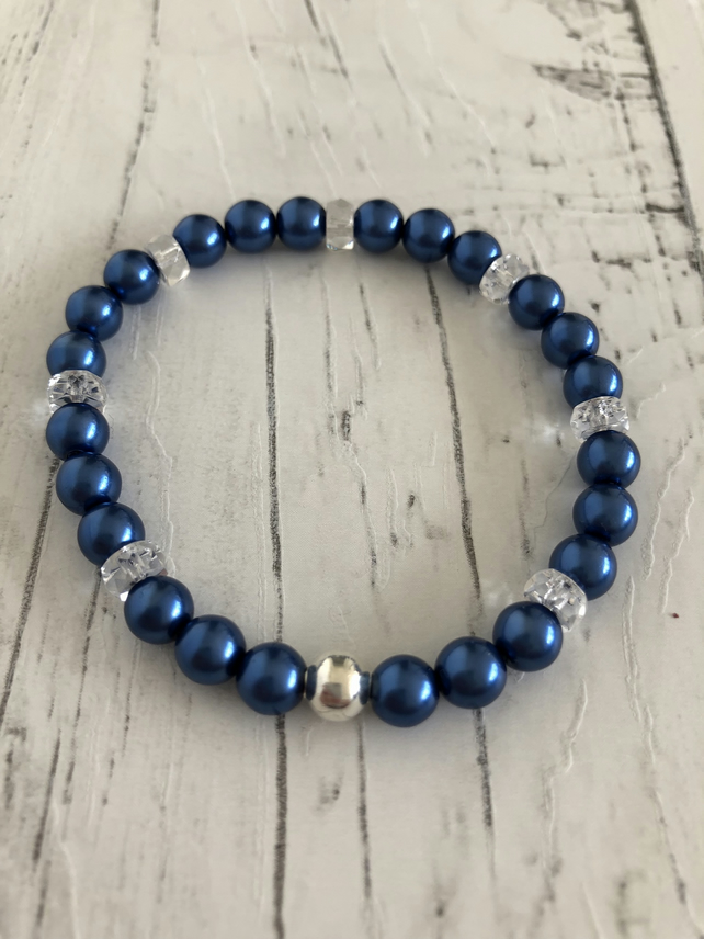 Blueberry beads, crystal beads, silver plated beaded stretch bracelet