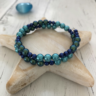 Memory wire bracelet with blue and green glass pearl beads