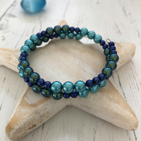 Memory wire handmade bracelet with blue and green glass pearl beads