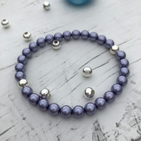 Lavender preciosca glass pearl beads and silver plated beaded stretch bracelet