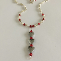 Heart Pendant Necklace with red and silver plated glass pearl beads