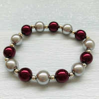 Czech glass burgundy and silver pearl beads and silver plated beads bracelet