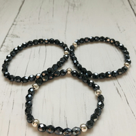 3 bracelets with black hematite fire polish beads and silver plated beads