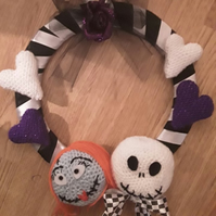 Jack and Sally inspired wreath hanger