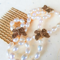 Gold-plated butterfly hair comb with white freshwater pearls