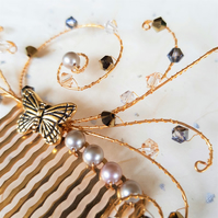 Gold-plated butterfly hair comb with Swarovski crystals and pearls