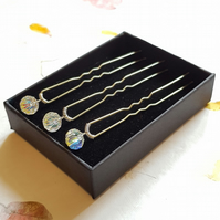 Set of Three Swarovski Crystal Bobby Hair Pins, Silver-plated, Bridal