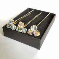 Set of Three Clear Swarovski Crystal Bobby Hair Pins, Gold Plated, Bridal